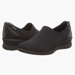 ECCO Babett Wedge Black Gore Tex Slip On Size 40